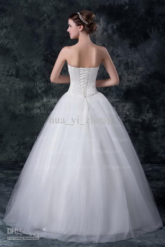 2016 vestidos de novia sin tirantes blancos perlas de cuentas vestidos de bola de la blusa deshuesada ata para arriba el tren del barrido MZ019