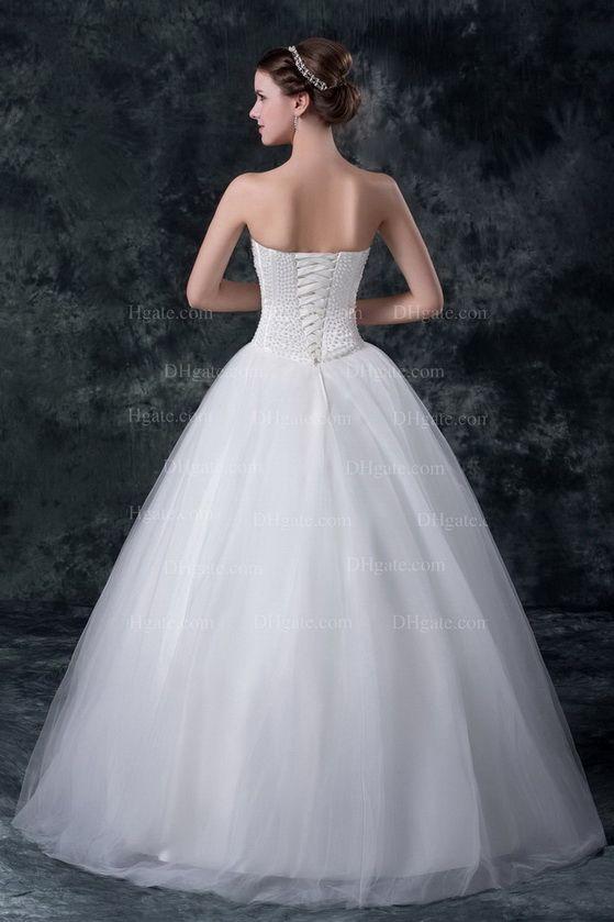 2016 Vit Strapless Bröllopsklänningar Beaded Pearls Boned Bodice Ball Gowns Lace Up Sweep Train MZ019
