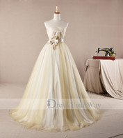 Wholesale Strapless Ruffle Bottom Wedding Dress - Real Image Glamours Wedding Dresses Strapless Empire Waist Sweep Train Puffy Bottom Vintage Bridal Gowns R025
