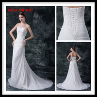 Wholesale Designer Crystal Wedding Gowns Sweetheart - 2015 Sexy A Line Strapless Pleated Wedding Dresses Chiffon Appliques Court Train Bridal Gowns HW027