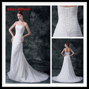 2015 Sexy A Line Strapless Pleated Wedding Dresses Chiffon Appliques Court Train Bridal Gowns HW027 on Sale