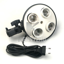 E27 4 Socket light Soporte Photo Lamp Bulb Holder Flash Umbrella Support Support Iluminación continua