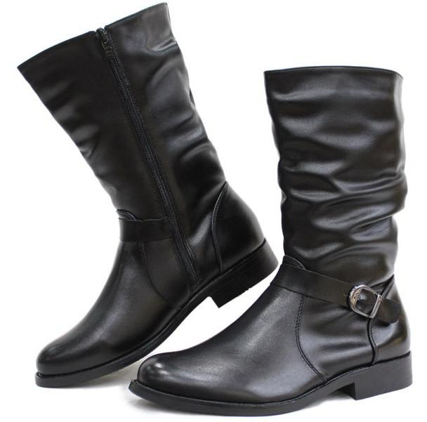 Pointed Toe Men'S Shoes Mid Calf Boots,Punk Buckle Wrinkles Side ...