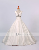 Wholesale Jacket Dressed Discount - Discount Ivory V-neck Wedding Dress 2015 In Stock!! US Size 2,4,6 A-line Satin Short Jacket Dhyz