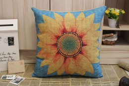 Wholesale Free Cushion Cover Patterns - Free shipping Printed Sunflower Pattern Cotton Linen Cushion Cover Pillow Cover 45x45CM pillow case