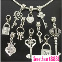 Wholesale Metal Love Letter Charms Diy - Key Lock Love Dangle Charms Beads 90pcs lot Hot Tibetan Silver For Jewelry DIY Metals 2012120102