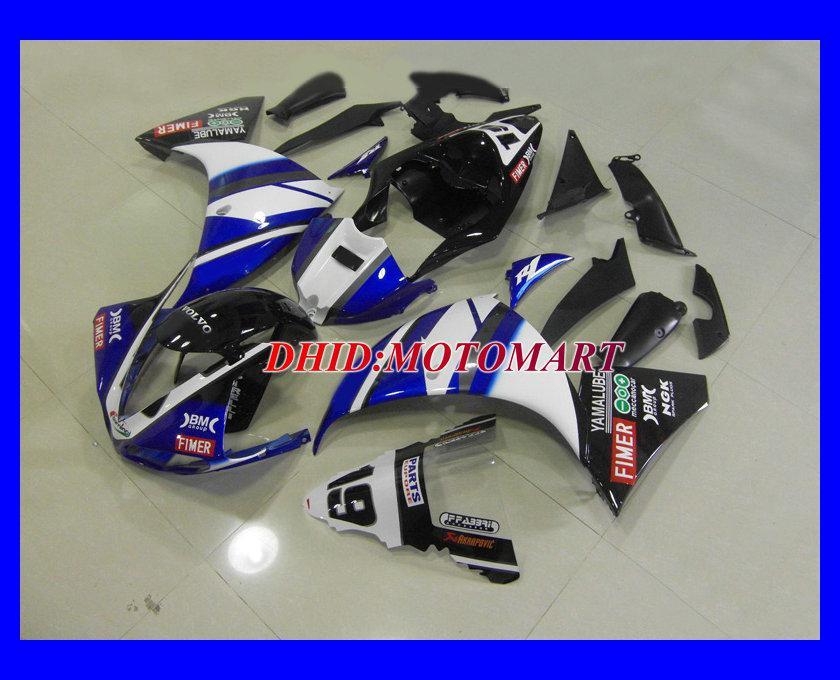 ABS White Blue Black Fairing Kit för Yamaha YZF R1 09 10 YZFR1 2009 2010 YZF-R1 Fairings Set