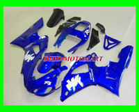 98 r1 fairing mavi toptan satış-YAMAHA YZF R1 için özel mavi beyaz Fairing kiti 98 99 YZFR1 1998 1999 YZF-R1 Marangozluk seti + 7 vites