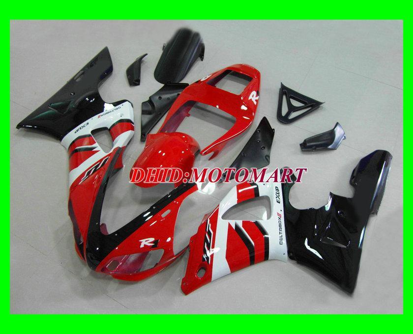 Motorcykel Fairing Kit för Yamaha YZF R1 98 99 YZFR1 1998 1999 YZF-R1 ABS Red White Fairings Set + 7Gifts