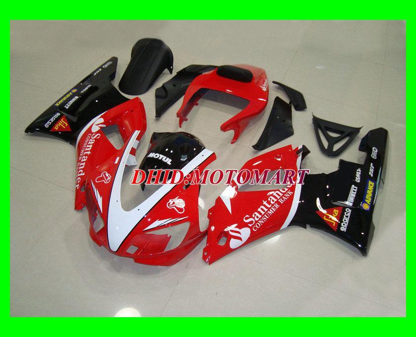 ABS-Kunststoff rot schwarz Verkleidungskit für YAMAHA YZF R1 98 99 YZFR1 1998 1999 YZF-R1 Verkleidungsset + 7gifts