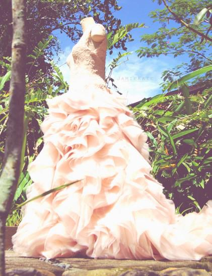 Discount Blush Bridal Wedding Dresses A Line V Neck Lace With Ruffled Organza Hi Lo Garden Chapel Train Wedding Dresses Inspired Marco And Lara