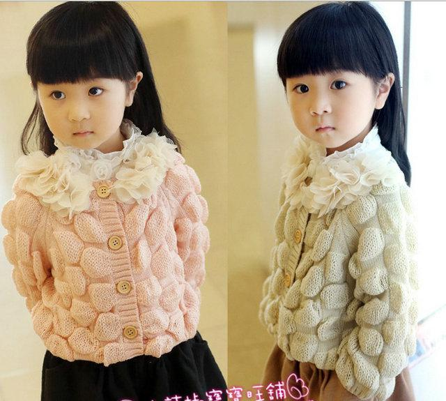 Girls Sweaters Cardigan 2013 Autumn Winter Handmade Flower Wool