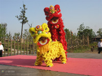 Wholesale Lions Mascot Costumes - Woollen Lion Dance Mascot Costume Southern Style Bamboo Weaving Head Fur Celebration Party Outfit