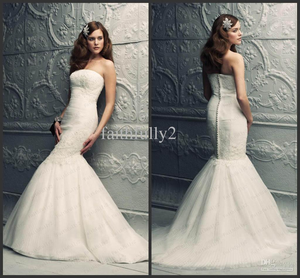 Strapless lace mermaid wedding dress for Sexy lace wedding dresses