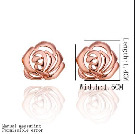 Toppkvalitetspläterad 18k Rose Golden Flower Stud Örhängen Mode Smycken Gratis frakt 10Pair / Lot