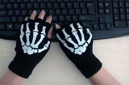 Wholesale Bones Work - 240 pairs NEW work computer Joint bone fingerless gloves bicycle riding half mittens for men and women Free shipping