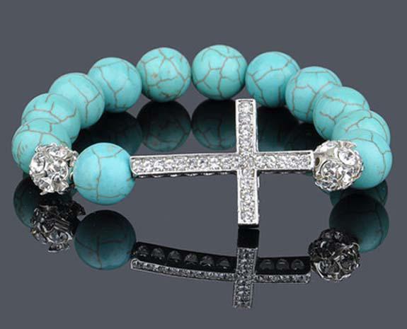 100X Türkis Sideway Kristall Silber Kreuz Stretch Armband Bead Armreif Armband