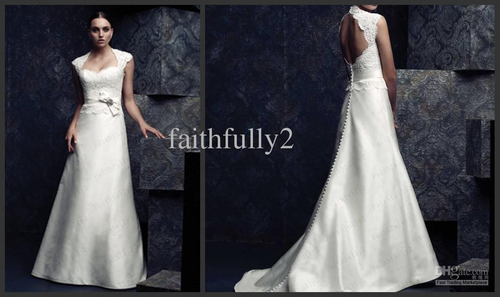 A Line Wedding Gown With Sleeves: Discount Sexy A Line Wedding Dresses Cap Sleeves Lace