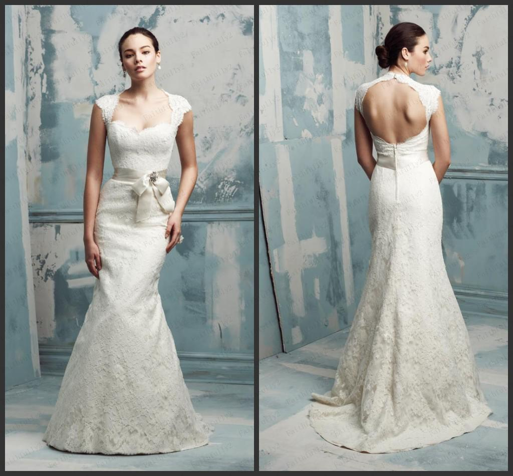Simple Long A Line Cap Sleeve Train Lace Wedding Dresses: Discount Sexy A Line Wedding Dresses Cap Sleeves Lace