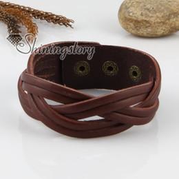 Cheap Braids Canada - leather braided bracelets for men leather wrist cuff Cheap fashion jewelry