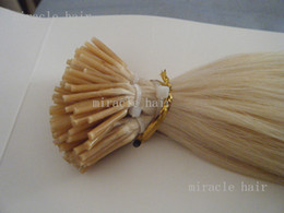 """Wholesale Tip Hair Extensions 1g - MIRACLE 100g pc 18"""" 20"""" 22"""" 0.8g 1g 613# Stick I Tip Human REMY Hair Extensions INDIAN DHL free"""