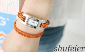 Wholesale leather cord fashion watches Women s Hand woven Leather Bracelet Wrist Watch Two Color xmas gift