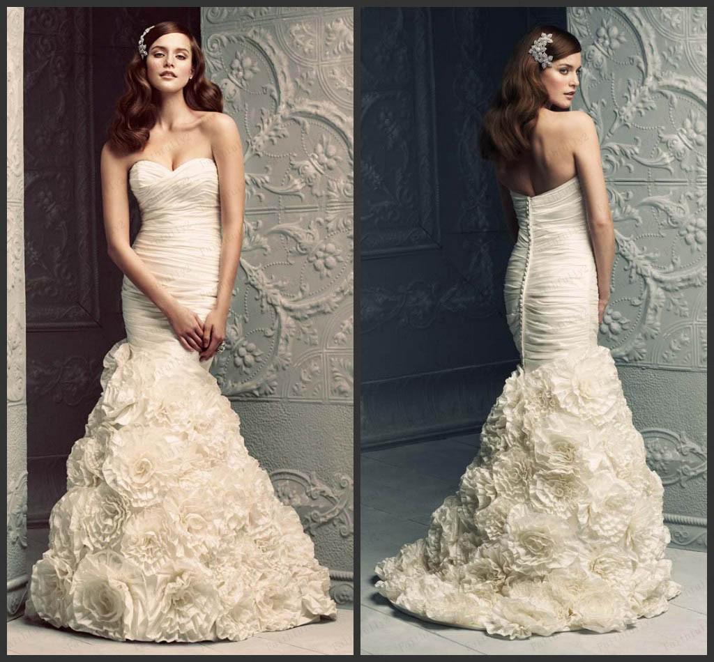 Ruching Wedding Gowns: Most Popular Mermaid Wedding Dresses Sweetheart Taffeta