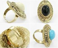 achat verstellbare ringe großhandel-Rabatt Vintage Oval geschnitzt Achat Edelstein Ringe Multicolor Frauen einstellbar heiße Verkäufe 50 Stücke /