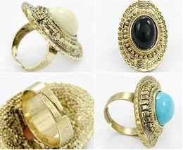 Wholesale Wholesale Carved Agate - Discount Vintage Oval Carved Agate Gemstone Rings Multicolor Women's adjustable Hot Sales 50pcs