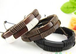 Wholesale Couple Wristband Bracelets - New Arrival Fashion Real Leather braided Bracelets Jewelry Couple Wristband Personalized 20pcs lot