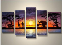 Wholesale Group Oil Paintings Design - Five Pieces Africa Landscape Group Oil Paintings New Design Africa Oil Painting Home Decoration Art