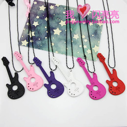 Bow Chain Necklace Canada - punk wood guitar pendant necklaces long style bead chain multicolour cute bow sweater chain women 36pcs