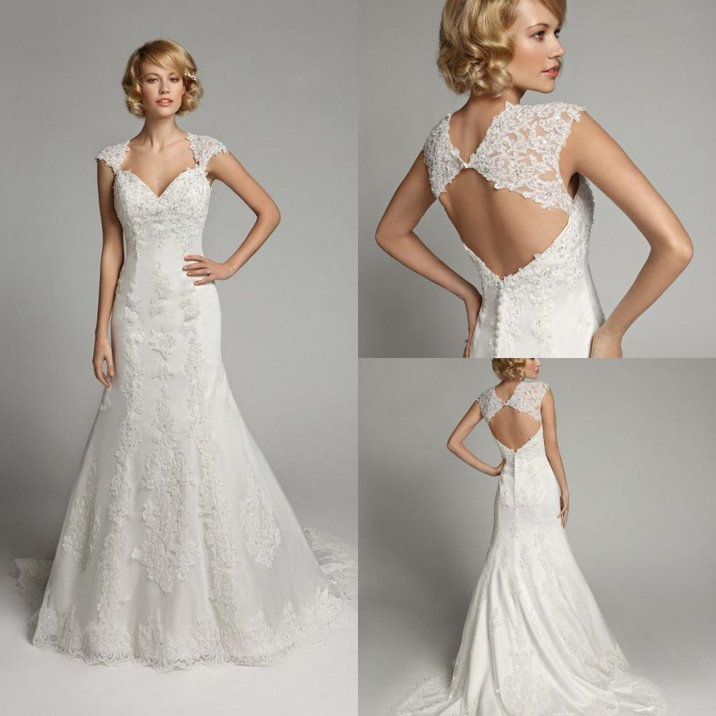 Gorgeous Ivory 2013 Cap Sleeves Lace Applique Mermaid V Neck Wedding ...