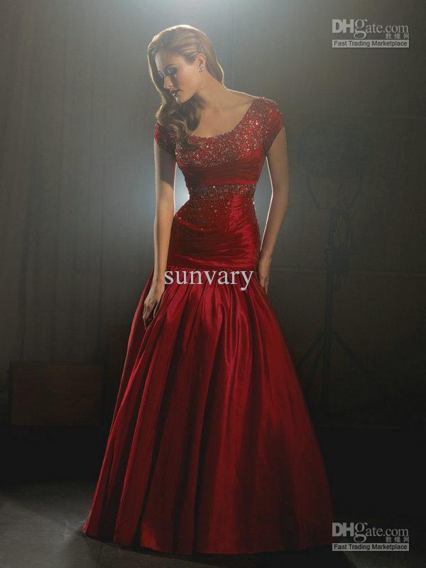 On Sale Evening Dresses Prom Dress Dark Red Cheap Plus ...