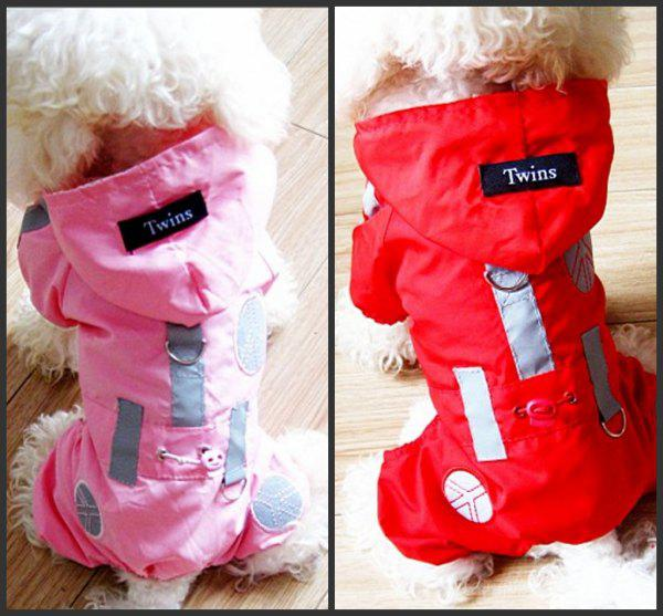 30pcs lotes de alta qualidade Dog capa de chuva Hoodie pet vestuário, material de tecido de nylon, malha dentro de 2 cores