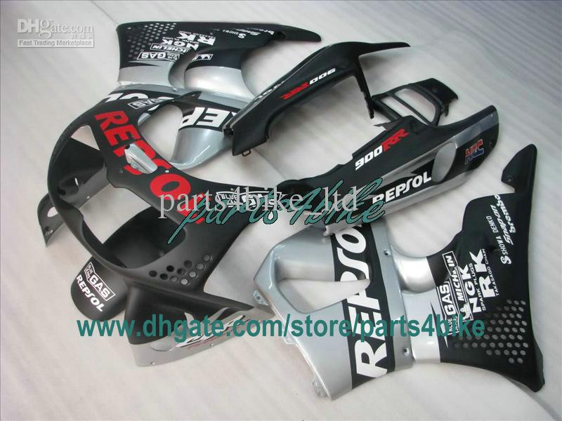 Carénage REPSOL plat noir pour 1995 1996 Honda CBR900RR 893 95 96 97 CBR893RR carrosserie CBR 900RR