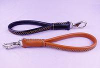 "Wholesale Dog Leash Genuine Leather - 12"" Black Brown Top Genuine Leather Dog Leash Lead Heavy Duty Medium Dog 3 4"" Width"