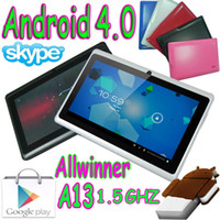 Wholesale Blue Android Tablet Pc - 10pcs 7 inch Q88 Allwinner A13 Tablet pc Capacitive Touch Screen Android 4.0 Wifi Webcam Pink Blue