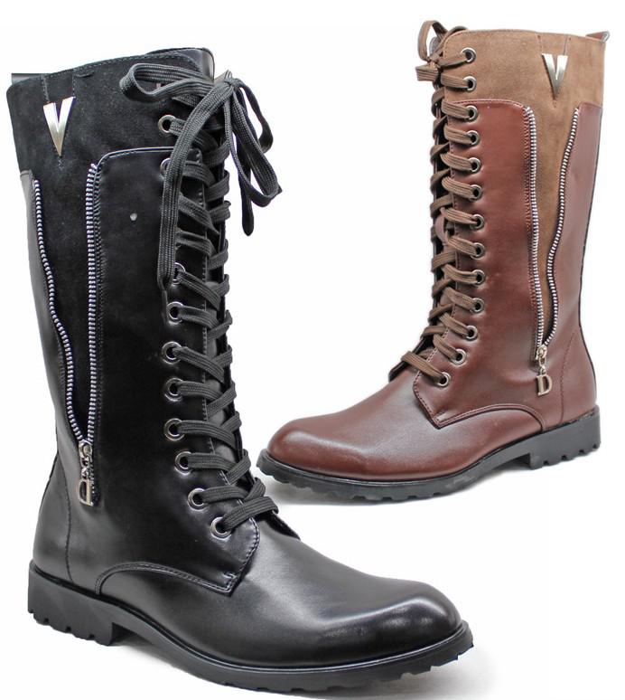 Pointed Toe Men'S Shoes Knee High Boots,Punk Zipper Lace Up Pu ...