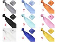 Wholesale Hot Pink Cravat - Hot Silk Men's Ties Formal Necktie Cravat Cufflinks Men Tie Handkerchief Set Free Shipping