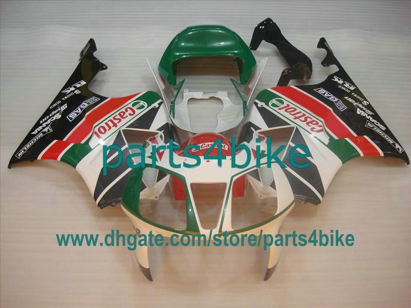 Grön Castrol ABS Fairing Kit för Honda VTR1000 2000-2005 RC51 SP1 RVT 1000RR SP2 Kroppsarbete