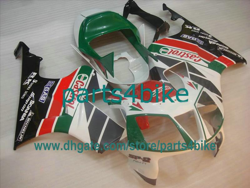 Green Castrol ABS Verkleidung Kit für Honda VTR1000 2000-2005 RC51 SP1 RVT 1000RR SP2 Karosserie