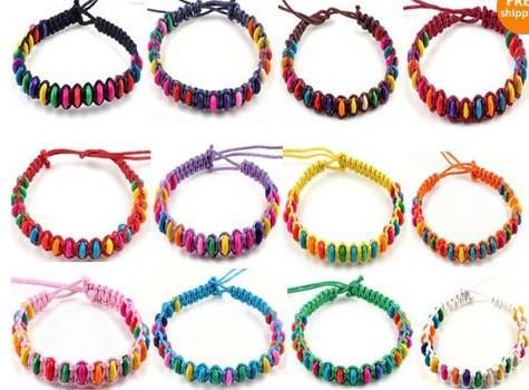 200 unids línea de cera pulsera de perlas de colores pulsera de la amistad de cuerda de cera trenzada