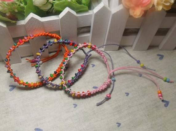 Wachs-Linie 200pcs färbte Perlenarmbandwachsseil umsponnenes Freundschaftsarmband