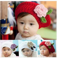 Wholesale Beret Winter Girl - children caps, girls handmade beret cap flower knit hat   baby Knitted hat 3 colors, 10pcs lot, danyds
