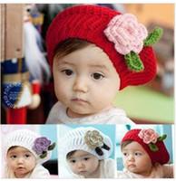 chapéu de boina bebê tricô venda por atacado-tampas das crianças, meninas boina artesanal cap flor chapéu de malha / bebê chapéu De Malha 3 cores, 10 pçs / lote, danyds