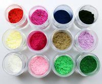 Wholesale Velvet Powder Set - 12 pcs Lot Brand New 12 Colors 3D Nail Art Flocking Powder Nails Velvet Art Set D114 Retail Drop Shipping