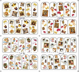 Wholesale nail art water decals halloween - XL Big Size Water Decals Sticker (1set=4 sheets different desgins) New Style Nail Art Patch Ornamen