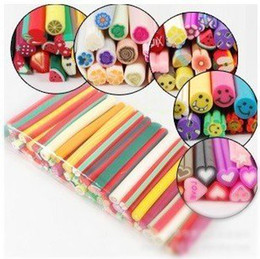 Wholesale Clay Art Flowers - [AJ118]100pcs canes polymer clay nail art Stickers cane fruit and flower Cutted HB976