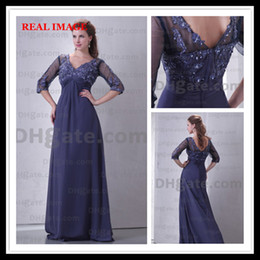 Wholesale Dress Silver Three Quarter Sleeve - 2015 Royal Blue Chiffon Prom Dresses Pleated Appliques Floor Length Three Quarter Sleeve BY034 Dhyz 01